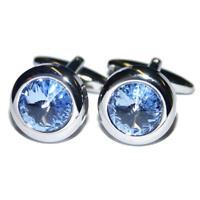 Argento Rotondo With Blue Cristallo Gemelli & Astuccio Formali Diamante Stile -  - ebay.it
