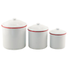 Country Farmhouse RED Rim Enamelware CANISTER SET vintage retro chic Kitchen dec