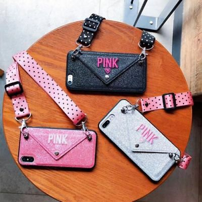 Pink Lanyards (Luxury PINK Victorias Secret case with lanyard purse wallet for iPhone 6 7 8X)