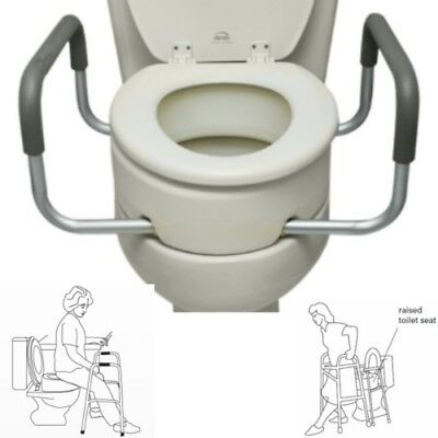 Raised Toilet Seat Elderly Senior Handicapped Removable Handles Hip Knee Padded