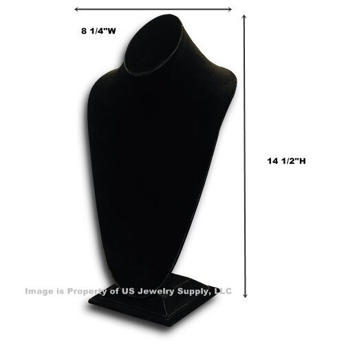 """Tall Black Necklace Pendant Chain Display Bust  8 1/4""""W x 6 3/4""""D x 14 1/2""""H"""