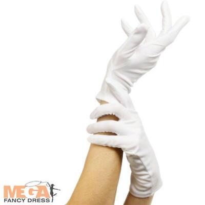 Short White Gloves Fancy Dress Costume Adults Mens Ladies Clown Santa Accessory