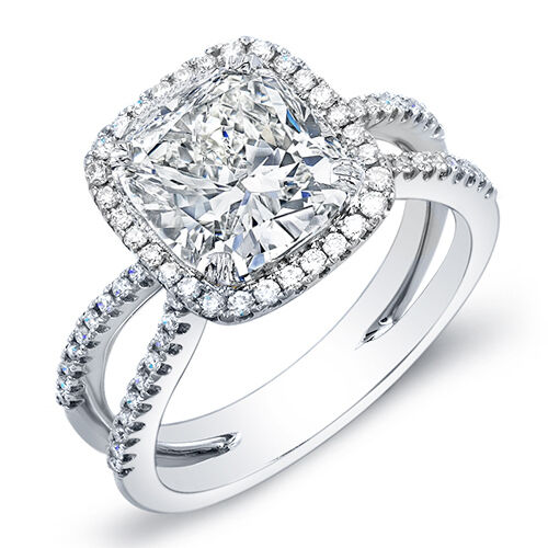1.95 Ct. Cushion Cut Halo Round Cut Pave Diamond Engagement Ring I,VVS1 GIA 14K