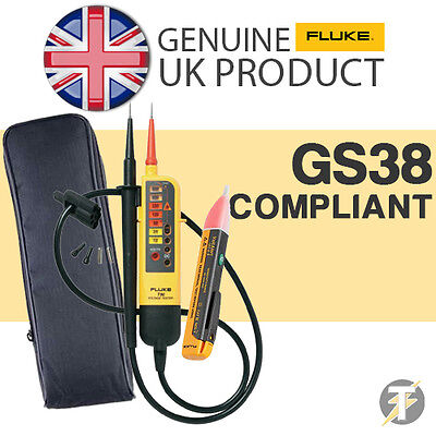Fluke T90 Voltage Continuity Tester Kit2p With 1ac Voltstick And Ldmc1 Case