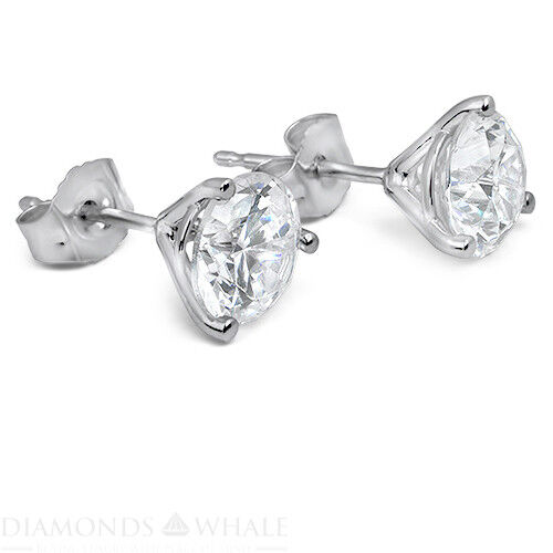 Round Enhanced Engagement Diamond Earrings 1 Ct Si2/f 18k White Gold Bridal