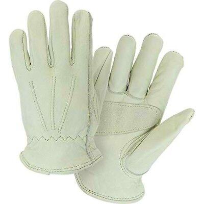 Master Guard Premium Grain Cowhide Leather Driver Work Gloves: S