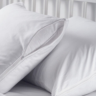 6 NEW WHITE HOTEL QUEEN SIZE PILLOW CASE ZIPPERED PROTECTOR COVERS 20''X30''