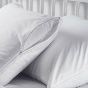 6 NEW WHITE HOTEL HYPOALLERGENIC PILLOW CASE ZIPPERED PROTECTOR COVERS 20''X30''