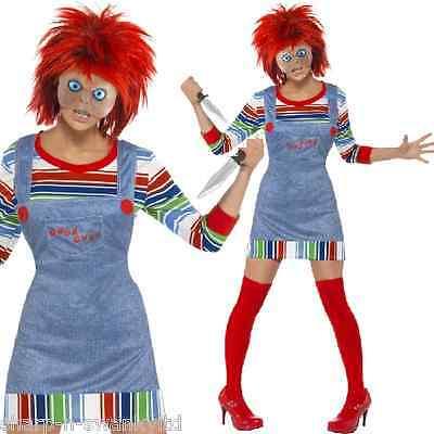 Damen Sexy Chucky Puppe Halloween Film Kostüm Kleid Outfit Perücke 4-22 (Chucky Puppe Perücke)