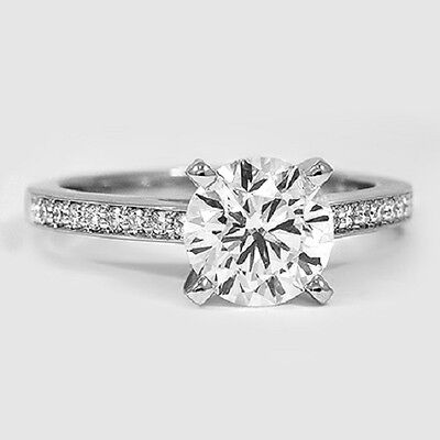 Micro Pave 1.35 ct. Round Cut Diamond Engagement Ring Pave 14k WG GIA G, VS2