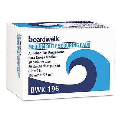 Boardwalk 196 Medium Duty Scour Pad, Green, 6 x 9 (Case of 20) Boardwalk 20 Green Green
