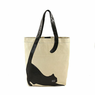 Sleepyville Critters Stretching Cat Canvas Tote Bag