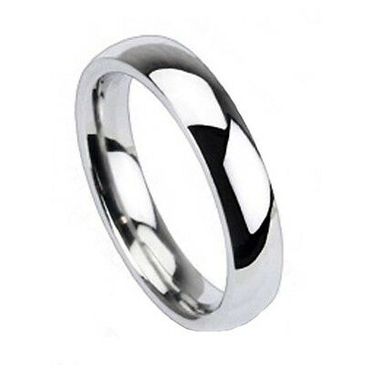 4mm Solid Titanium Shiny Classic Traditional Wedding Engagement Bridal Band Ring 4mm Traditional Wedding Band Ring