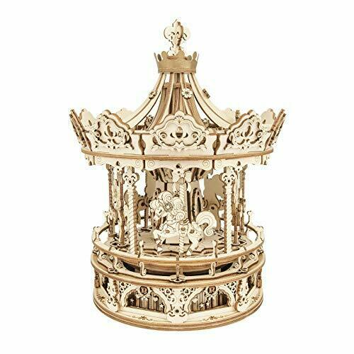 ROKR 3D Wooden Puzzle Carousel Model Building Kits Rotating 5-Horses Music Box