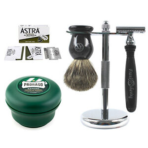 Luxury-Shaving-Set-Safety-Razor-Badger-Brush-Stand-Proraso-Cream-Blades