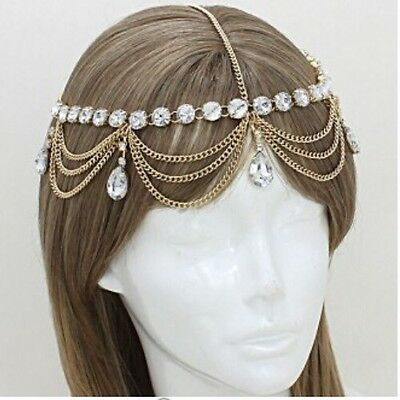 Bridal Pageant Formal Hair Head Crystal Metal Chain Jewelry Gold Headpiece Prom