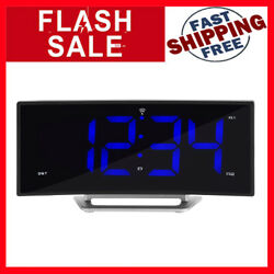 La Crosse Technology 617-249 1.8 Inch Curved Blue LED Atomic Dual Alarm Clock