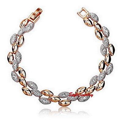18k Two Tone Gold Filled Wedding Wheat Bracelet Made With Swarovski Crystal T29