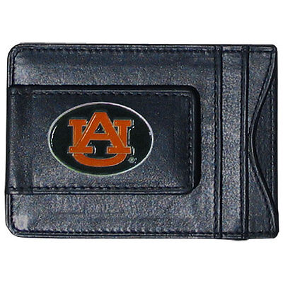 Auburn Tigers Fine Leather Money Clip NCAA Licensed ID Card Cash Holder Auburn Tigers Black Leather
