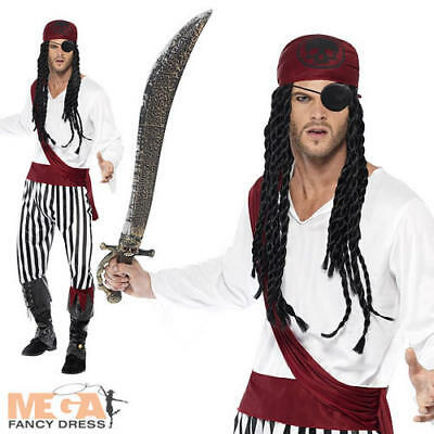 Pirate Man Fancy Dress Adults Pirates of the Caribbean Film Costume Mens Outfit - Adult Pirate Movie