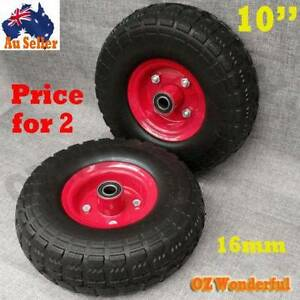 """2pcs Solid Tyre Wheel Wheelbarrow 10""""x3.5""""x4"""" Puncture Proof Epping Whittlesea Area Preview"""