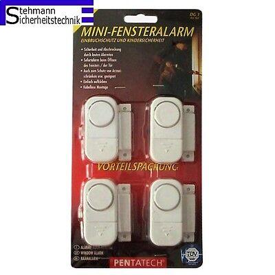 4 Stück Mini Fensteralarm Türalarm Pentatech Alarmanlage Fenstersicherung Alarm