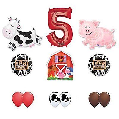 Barn Farm Animals 5th Birthday Party Supplies Cow, Pig, Barn Balloon Decorations ()