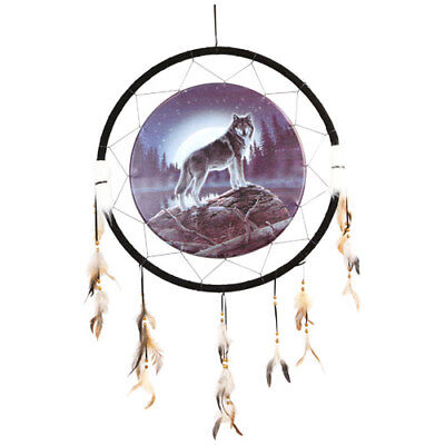 "Giant 26"" Moon Wolf Lake Rock Night Mountain Scene Dream Catcher Feathers 2655"