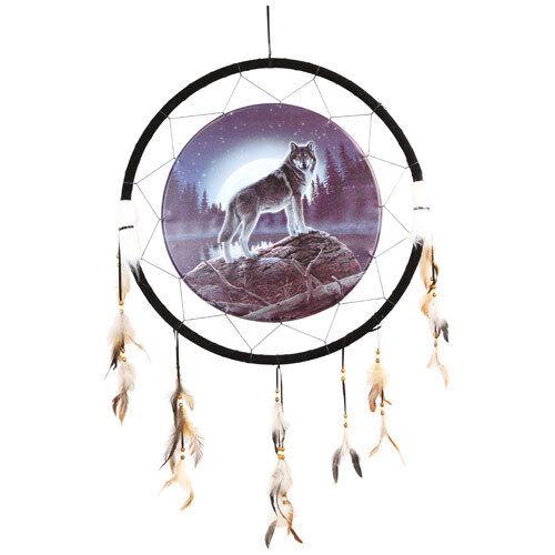 "Giant 26"" Moon Wolf Lake Rock Night Mountain Scene Dream Catcher Feathers 2655"