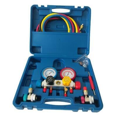 4 Way Manifold Vacuum Gauge Set R404a R410a R22 Ac Ac Hvac Refrigeration Kit