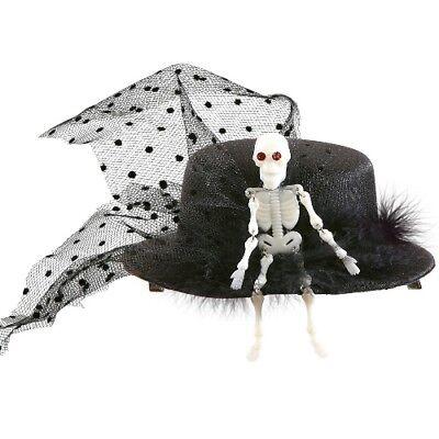Halloween MINI ZYLINDER mit Schleier und Skelett schwarz-weiss Damen Hut (Schwarz Und Weiß Halloween)