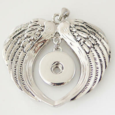 Fits Ginger Snap GINGER SNAPS PENDANT Large Angel Wings Necklace 18mm Button