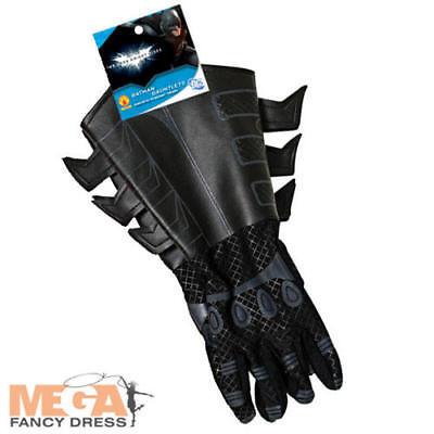 Batman Black Gloves Dark Knight Movie Fancy Dress Costume Mens Adult - Batman Black Knight Kostüm