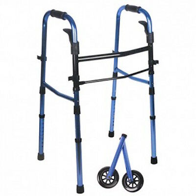 Blue Compact Folding Paddle Walker w/ Wheels - Best for Heights: 5'5