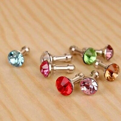 1x Rhinestone Anti Dust Earphone Plug Cover Stopper Cap Phone Decor 3.5mm Random