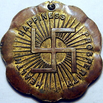 Circa 1930 Chicago Illinois Good Luck Swastika Token Warrenteed Seed Gold Seal