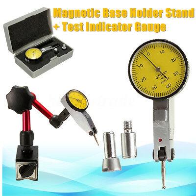 Dial Test Indicator DTI Gauge & Magnetic Base Stand Metric Precision Clock Gauge