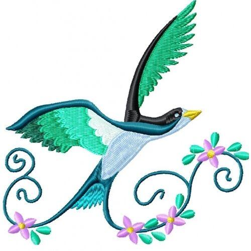 Embroidered Sweatshirt - Beautiful Birds PE06