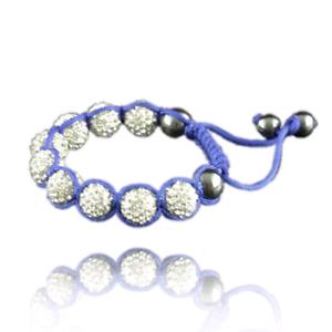 Disco ball crystals adjustable size bracelet pink blue black red