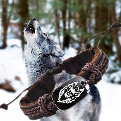 Viking Armband Wolf Leder Armreif Wikinger Armspange Folkloreschmuck für Herren