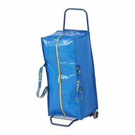 Trolley with trunk, blue+ Tarpaulin rope, blue to sale- USED ONCE ONLY