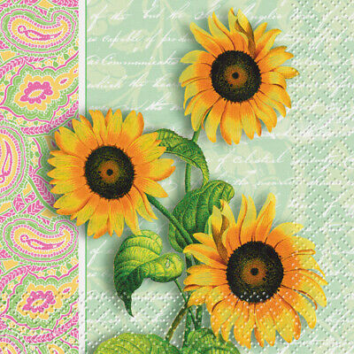 Sunflower Party Supplies (FLORAL Sunflower Paisley SMALL NAPKINS (24) ~Birthday Party Supplies Cake)