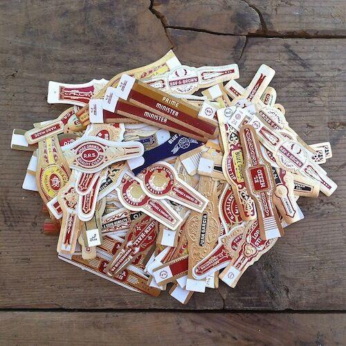 100 Assorted Vintage Original CIGAR BAND Label Collection 1920s-30s Labels NOS