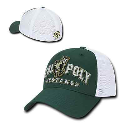 Poly Mesh Cap - Cal Poly State University Mustangs Flex Mesh Baseball Fit Fitted Ball Cap Hat
