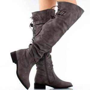 e1b2ba14c3d Flat Knee Thigh High Boots