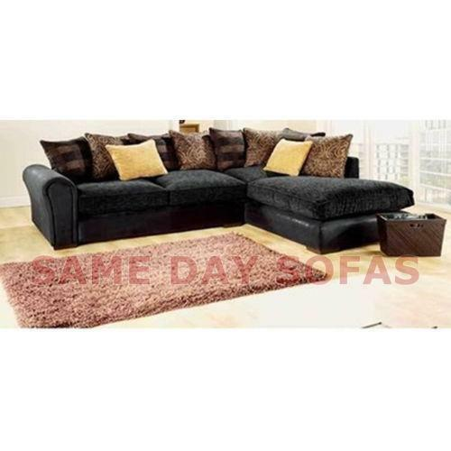 large grey corner sofa ebay. Black Bedroom Furniture Sets. Home Design Ideas