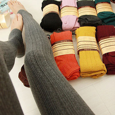 Women Winter Wool Cable Knit Sweater Footed Tights Stretch Stockings Pantyhose Cable Knit Cotton Tights