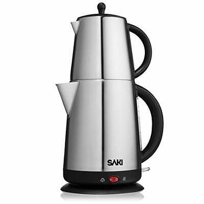SAKI Turkish Tea Maker - 110 V, Electric Tea Maker Machine, Stainless -