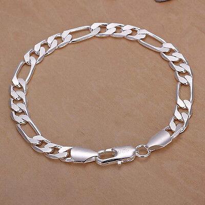 sterling silver 8mm Men women wedding Chain cute noble Bracelet Bangle jewelry