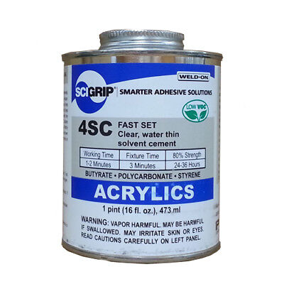 Ips Weld-on 4sc Plastic Solvent Glue Cement For Acrylic Plexiglass Pint 16 Oz.